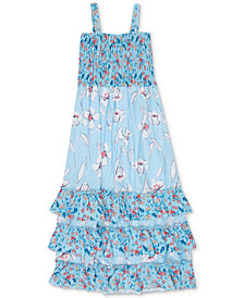 Speechless Big Girls Floral-Print Smocked Ruffle Dress