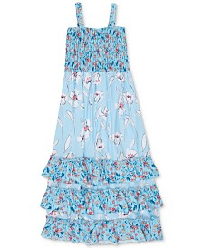 Speechless Big Girls Floral-Print Smocked Ruffle Dress
