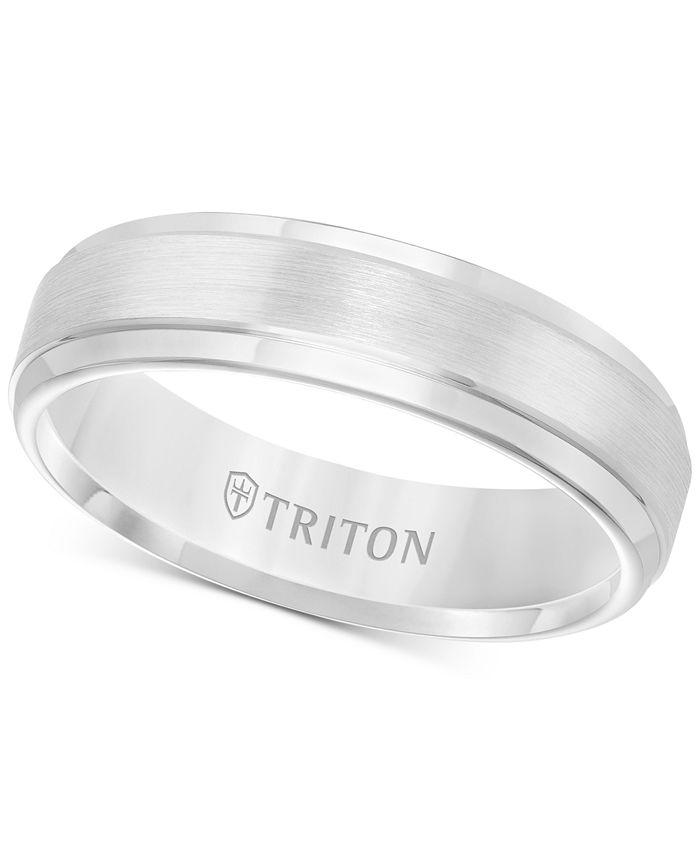 Triton - Men's White Tungsten Carbide Ring, Comfort Fit Wedding Band (6mm)