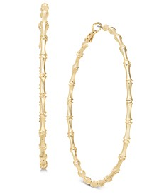 Thalia Sodi Gold-Tone Bamboo-Inspired Hoop Earrings, Created for Macy's