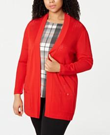 Anne Klein Plus Size Malibu Pointelle Open-Front Cardigan
