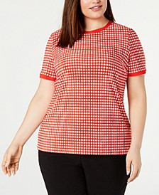 Plus Size Dot-Print Button-Back Top