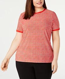 Anne Klein Plus Size Dot-Print Button-Back Top