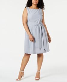 Anne Klein Plus Size Seersucker Fit & Flare Dress