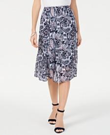 NY Collection Petite Printed Midi Skirt