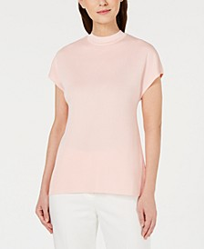 Mock-Neck Cap-Sleeve Sweater