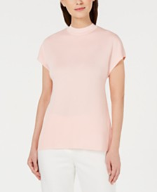 Anne Klein Mock-Neck Cap-Sleeve Sweater