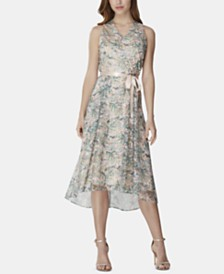 Tahari ASL Embroidered High-Low Dress