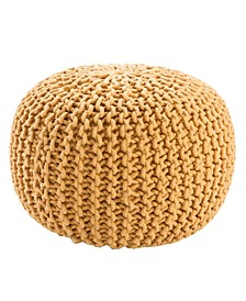 Visby Yellow Textured Round Pouf