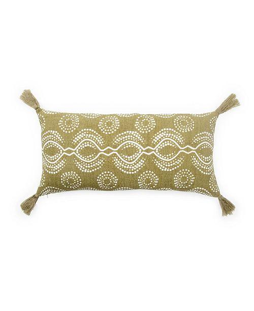 """Jaipur Living Nikki Chu By Satin Green/White Graphic Down Throw Pillow 10"""" x 21"""""""