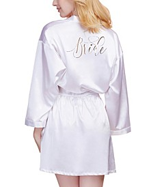 Women's Satin Charmeuse Bride Robe with Adjustable Front Tie Closure