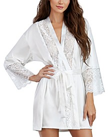 Satin Charmeuse Robe With Lace Trim Details