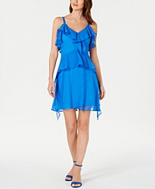 Petite Sleeveless Ruffled Dress
