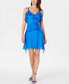 Taylor Petite Sleeveless Ruffled Dress