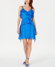 Taylor Petite Sleeveless Ruffled Dress