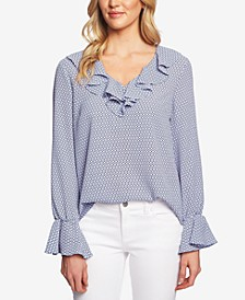 Geo-Print Ruffled-Neck Top