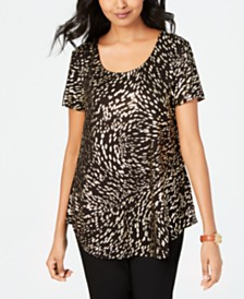 JM Collection Petite Metallic-Print Shirttail-Hem Top, Created for Macy's