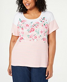 Plus Size Embellished Printed T-Shirt, Created for Macy's