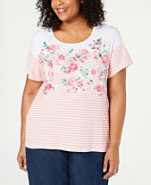 29836480 Karen Scott Plus Size Embellished Printed T-Shirt, Created for Macy's