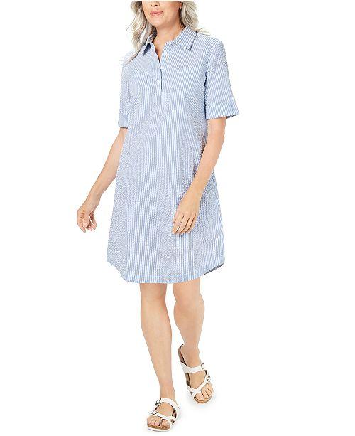 Karen Scott Seersucker Shirtdress In Regular And Petite Created