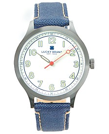 LUCKY BRAND MENS JEFFERSON NAVY FABRIC STRAP 38mm