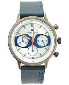 LUCKY BRAND MENS FAIRFAX MF NAVY LEATHER STRAP 40mm