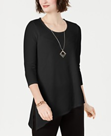 JM Collection Petite Textured Necklace Tunic, Created for Macy's