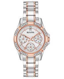 Bulova Women's Crystal Two-Tone Stainless Steel Bracelet Watch 32mm, Created for Macy's