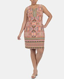 NY Collection Plus Size Medallion-Print Shift Dress