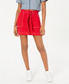 Dickies Cotton Tie-Belt Utility Skirt