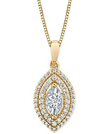 "Diamond Marquise Halo 18"" Pendant Necklace (1/3 ct. t.w.)"