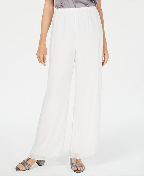 Alex Evenings Straight-Leg Chiffon Pants