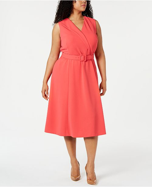 Calvin Klein Plus Size Belted Faux-Wrap Midi Dress