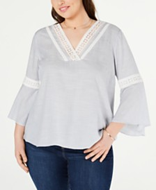 Jessica Simpson Trendy Plus Size Crochet-Trim Peasant Top
