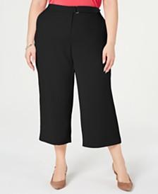Alfani Plus Size Wide-Leg Belt-Tab Pants, Created for Macy's