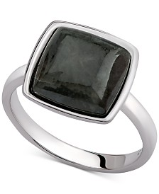 Aqua Quartz Cushion Bezel Statement Ring (2-5/8 ct. t.w.) in Sterling Silver (Also available in Carnelian, Amethyst & Labradorite)