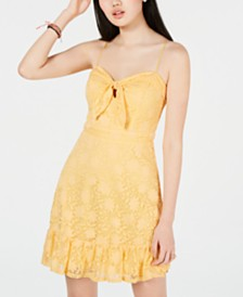 City Studios Juniors' Lace Sweetheart Ruffle Dress