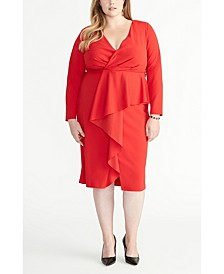 Plus Size Wrap Ruffle Front Dress