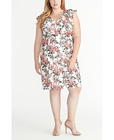 RACHEL Rachel Roy Ruffle Sleeve Floral Printed Lace Dress