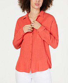 Eileen Fisher Organic Cotton Crinkle Shirt, Regular & Petite