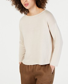 Eileen Fisher Linen & Cotton Boat-Neck Sweater