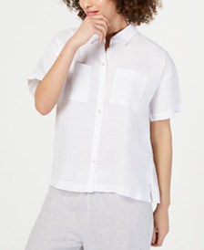 Eileen Fisher Button-Down Short-Sleeve Organic Linen Top