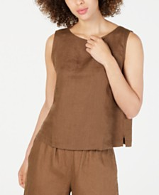 Eileen Fisher Organic Linen Sleeveless Boat-Neck Top