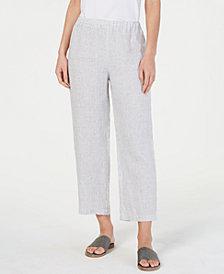 Eileen Fisher Linen Striped Cropped Straight-Leg Pants, Regular & Petite