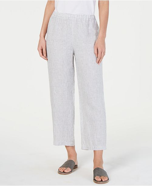 Eileen Fisher Linen Striped Cropped Straight-Leg Pants, Regular & Petite
