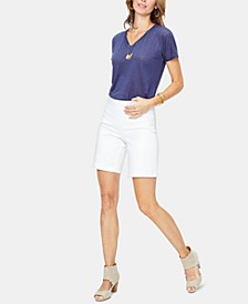 Tummy-Control Bermuda Denim Shorts