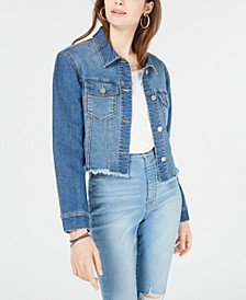 Love, Fire Juniors' Cropped Raw-Edged Denim Jacket