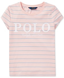 Polo Ralph Lauren Big Girls Striped Cotton Jersey Logo T-Shirt
