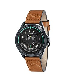AVI-8 Men's Japanese Automatic Pegasus Hawker Harrier II, AV-4047-04, Brown Leather Strap Watch 45mm