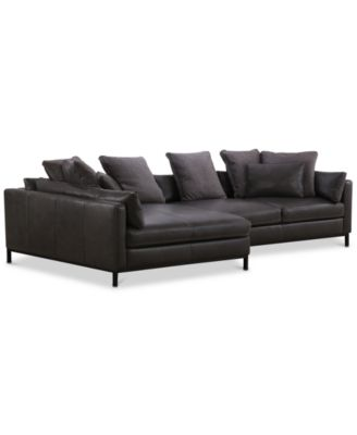 "Plassey 135"" 2-Pc. Leather Chaise Sectional Sofa"